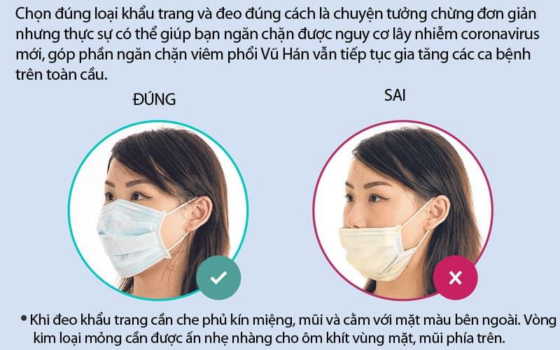 Đeo khẩu trang đúng cách tránh lây nhiễm virus corona